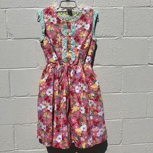 EUC Matilda Jane Leah pink floral dress L